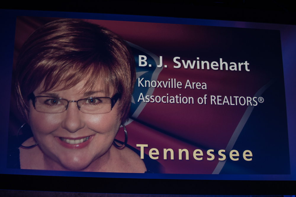 2015 TAR REALTOR® of the Year B. J. Swinehart (Knoxville)  on the big screen.